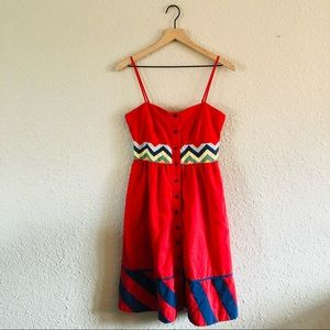Anthropologie Lithe Red Button Up Dress